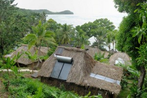 Solar hot water in all bures at Matava, Fiji
